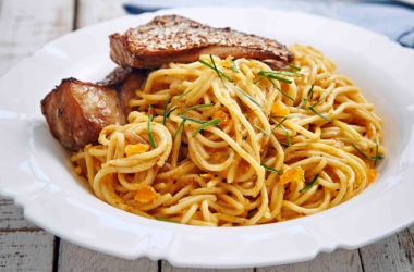 RECIPE: SALTED EGG SPAGHETTI WITH HONEYED SOY FISH FILLET