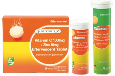 ADD SOME ZING & FIZZ TO THE MAINTENANCE OF YOUR GOOD HEALTH & PERFORMANCE WITH GUARDIAN'S NEW EFFERVESCENT VITAMINS AND MINERALS RANGE