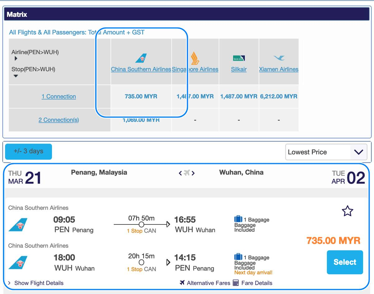 Penang Wuhan By【china Southern Airlines】 Rm 735 For