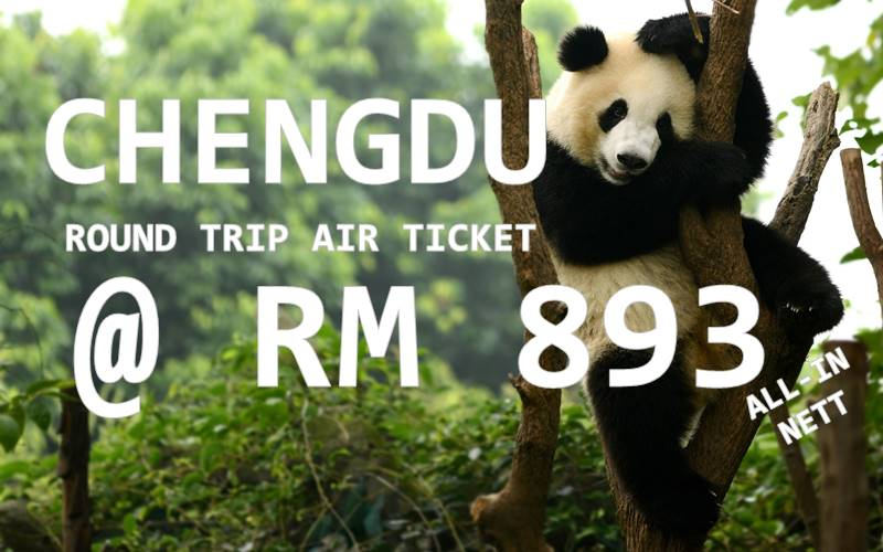 FLY CHENGDU BY【SHENZHEN AIRLINES】@ RM 893 NETT FOR ALL INCLUSIVE FARE