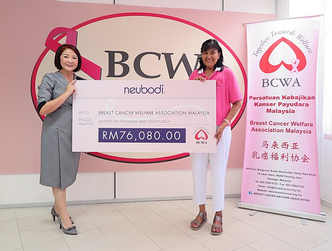 "Breast Cancer Welfare Association Malaysia's Hospital Angels receives RM76,080 through NEUBODI's ""Pedal Forward"" initiative"