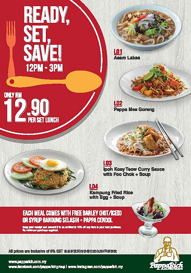 lunch is only rm12 90 at papparich