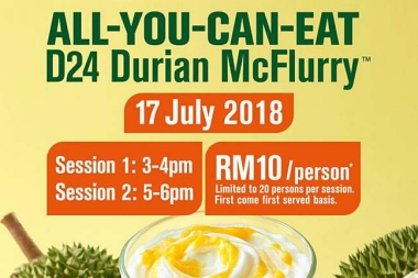 ALL-YOU-CAN-EAT D24 DURIAN MCFLURRY!