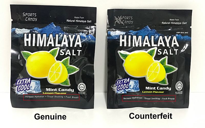 BE CAREFUL ON COUNTERFEIT HIMALAYA SALT SPORTS CANDY!