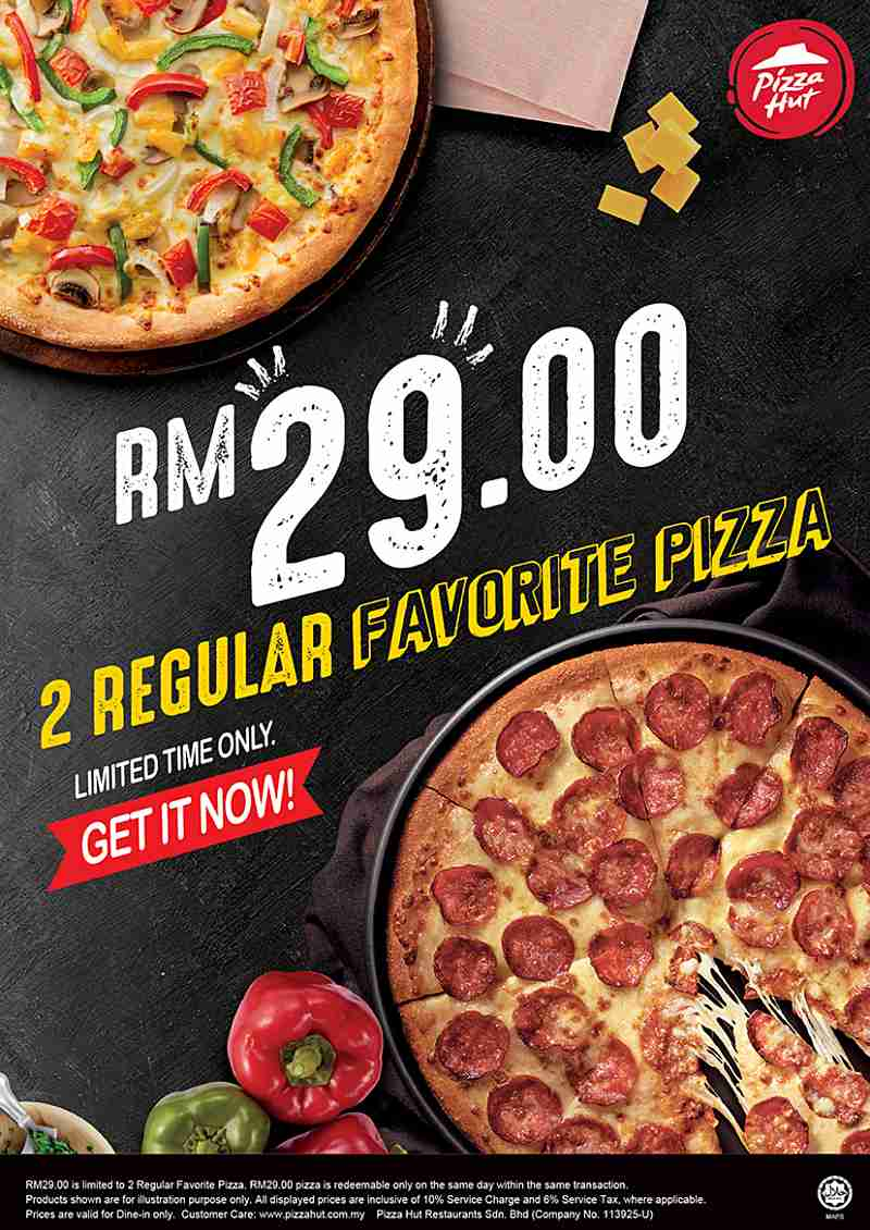 Irresistible First Time Ever Pizza Hut Promo – 2 Regular Pizzas For Rm29 Only!