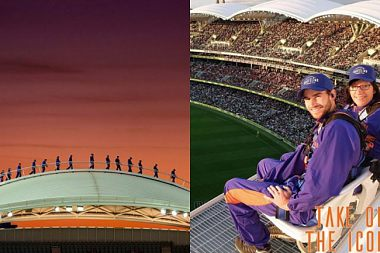 PEOPLE ARE CLIMBING THIS STADIUM'S ROOF IN AUSTRALIA TO GET A BETTER VIEW OF THE GAME!